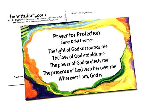 Prayer for Protection 4x6 postcards James Dillet Freeman poster - Heartful Art by Raphaella Vaisseau