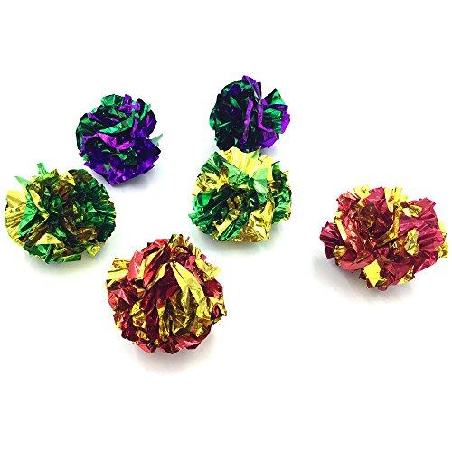 mingol MYLAR Crinkle Balls Cat Toys Balls, Catnip Teaser Exercise Toy Ball (6 (Ball Teaser Cat Toy)