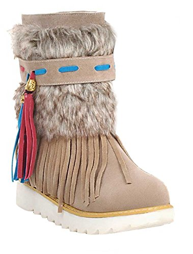 Faux Ankle Lined Fur Warm Boots CHFSO Platform Fringe Women's Waterproof Winter Snow Apricot Low Heel Stylish Ixwv4q1T