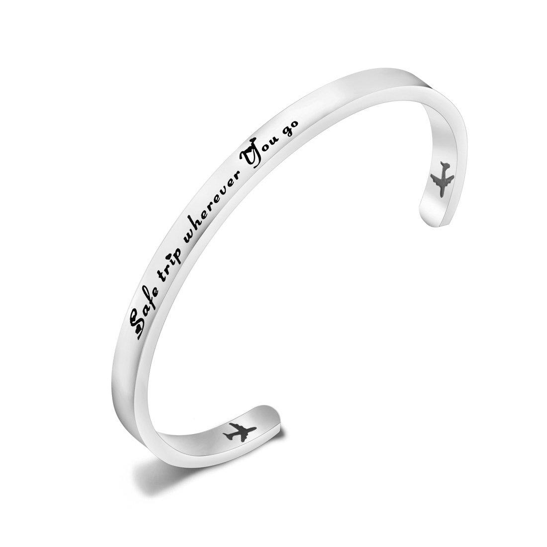 ENSIANTH Safe Travels Bracelet Pilot Gift Airplane Cuff Bracelet Traveling Bracelet Aviation Jewelry Flight Attendant Gift (Sliver-5mm)