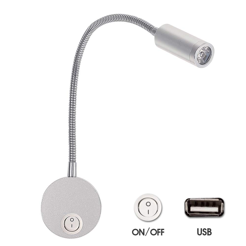 DC 12V Reading Light with USB Port, RV Interior Wall Lights, Gooseneck LED Light Fixtures, Brushed Nickel, Designed for Boat, Yacht, and Caravan, Motorhome WishHome