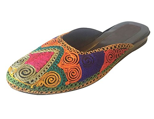 Étape N Style Fantaisie Punjabi Jutti Chaussures Indiennes Tong Flip Chaussures Khussa Plat Sandales Multicolores