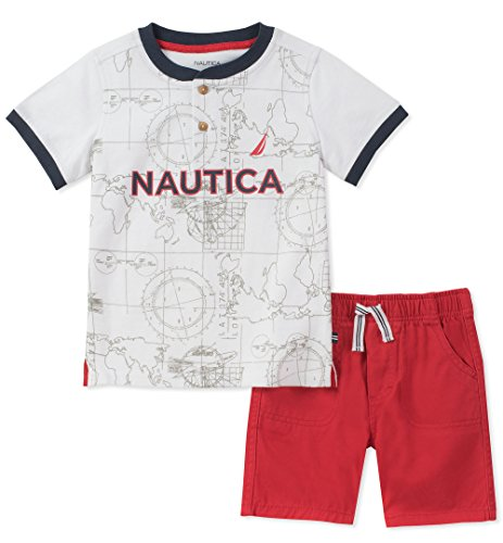 Nautica Baby Boys Henley Top with Shorts, White, 24M