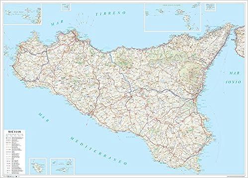 Cartina Geografica Stradale Della Sicilia.Amazon It Sicilia Carta Stradale Della Regione 1 250 000