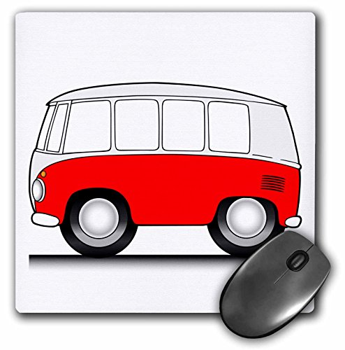 3dRose Mark Grace CARTOON CARS micro-bus - goofy van, red and white, on street with white background - MousePad (mp_81005_1)