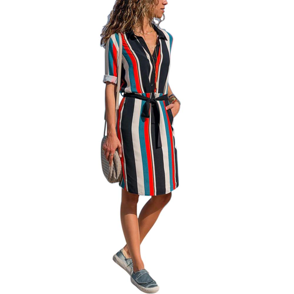 5fbf4e08ab345 FidgetGear Women Colorful Striped Long Sleeves T Shirt Dress Blouse Mini Dress  Red and White Stripes L: Amazon.in: Home & Kitchen
