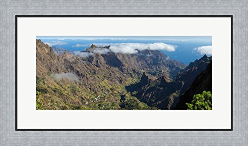 Santo Antao Cape (High angle view of valley with mountains, Santo Antao, Cape Verde by Panoramic Images Framed Art Print Wall Picture, Flat Silver Frame, 29 x 17 inches)
