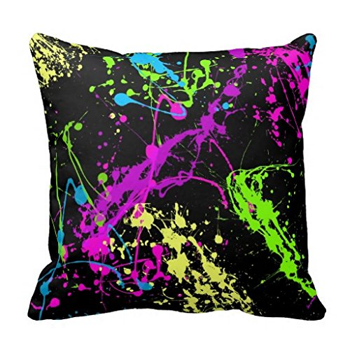 Colorful Neon Paint Splatters On Black Throw Pillow Case