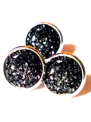 Black Agate Dome Ring - 20pairs lot 12mm Round Natural Agate Druzy Stud Earrings stainless steel Drusy Jewelry (Black)
