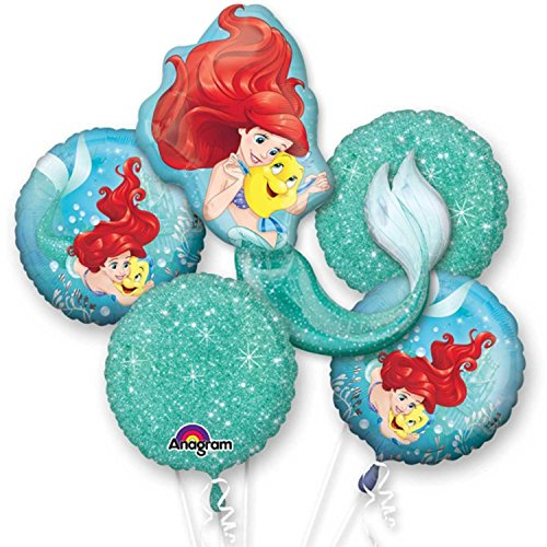 Disney Little Mermaid Balloon Birthday Party Favor Supplies 5ct Foil Balloon Bouquet by Anagram ()