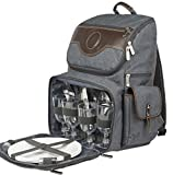 Premium Deluxe Leather 4 Person Picnic Backpack With Cooler Compartment, Bottle/Wine Holder, Fleece Blanket, Plates and Cutlery Set
