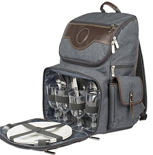 Deluxe Picnic Cooler 4 Person (Premium Deluxe Leather 4 Person Picnic Backpack With Cooler Compartment, Bottle/Wine Holder, Fleece Blanket, Plates and Cutlery)