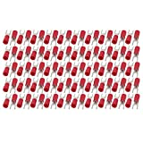 uxcell 100Pcs SV2-4S Pre-Insulated U-Type Crimp Terminals AWG16-14 Wire Connector Red