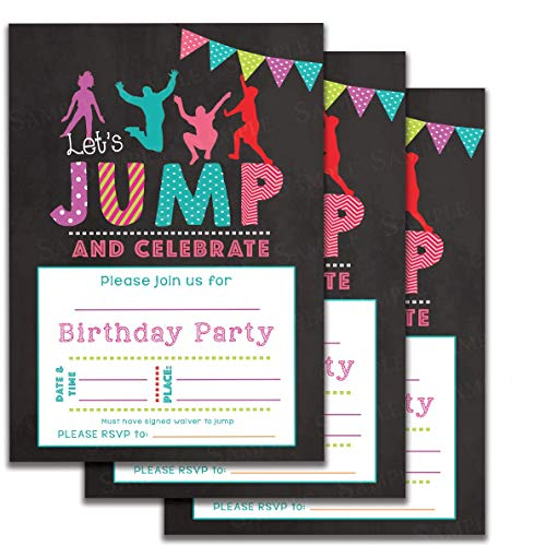 Set Of 25 Jumping Kids Birthday Party Invitations For Trampoline Park Gravitopia Jump Zone Big