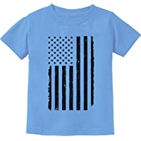 Tstars TeeStars - Big Black Distressed U.S Flag 4th of July Toddler/Infant Kids T-Shirt