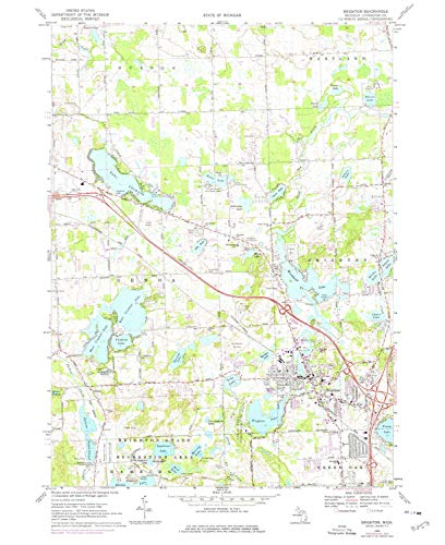 YellowMaps Brighton MI topo map, 1:24000 Scale, 7.5 X 7.5 Minute, Historical, 1968, Updated 1976, 26.9 x 22 in - Polypropylene