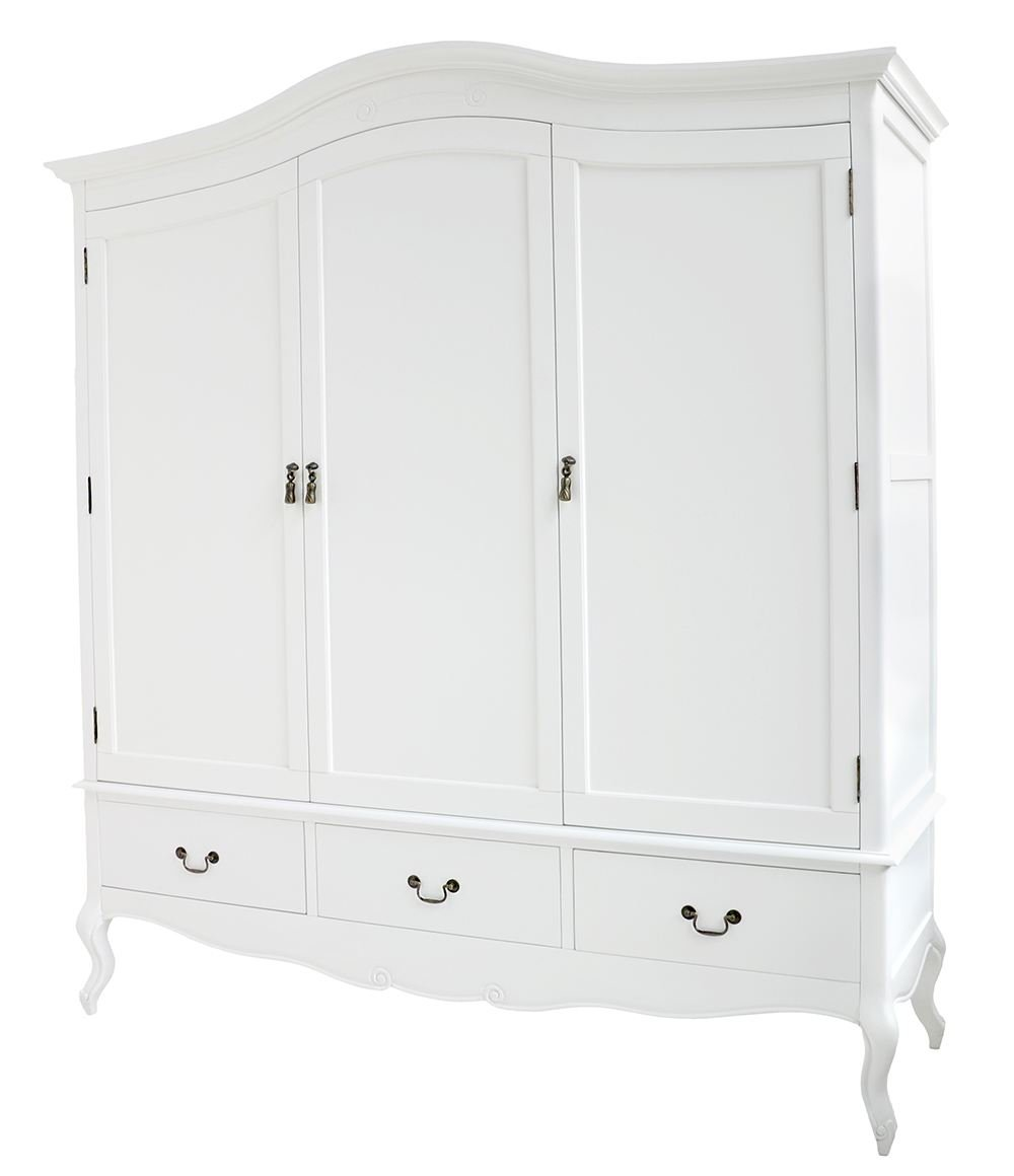 Juliette Shabby Chic White Triple Wardrobe With Hanging Rails