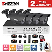 TMEZON 8CH AHD 1080P Security DVR System Included 4 High 2.0 MegaPixels CCTV Cameras 1TB HDD( IP66 Weatherproof, Night Vision up to 100ft, Motion Detection & Email Alert)