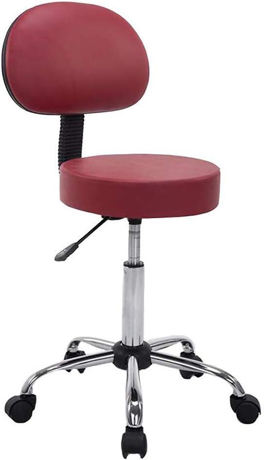 オフィス背もたれスツール, 360 °回転チェア, バッククッション付きスツール, 超豪華な旋回サロンスツール, ブラック,Red