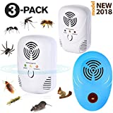 NEW 2018 Ultrasonic pest repeller (3 Pack) - Bug Repellent Indoor Plug in - Mosquito Repellent, Pest Control for Mice, Rats, Roaches, Spider, Rodent, Bugs, Flies, Ants, Human & Pets Safe -White & Blue