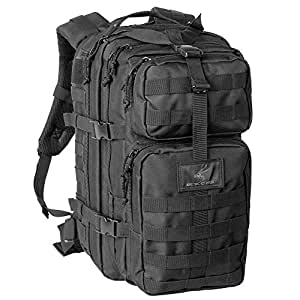 Exos Bravo Tactical Assault Backpack Rucksack. Great as a Bug Out Bag, Daypack, or Go Bag; for Hiking, or Camping. Molle equipped & hydration pack ready (Black)