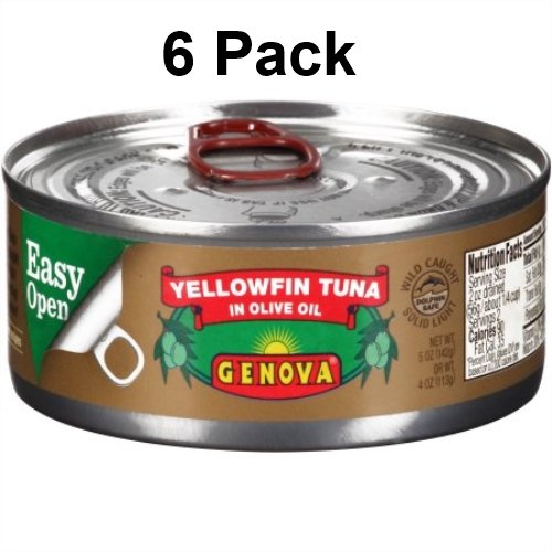 Genova Yellowfin Tuna in Pure Olive Oil, 5-Ounce (Pack of 6) (Genova Tuna)