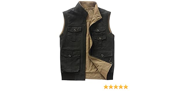 Jinmen Men Cotton Leisure Double-Sided Camouflage Vest Military Cargo Wasitcoat