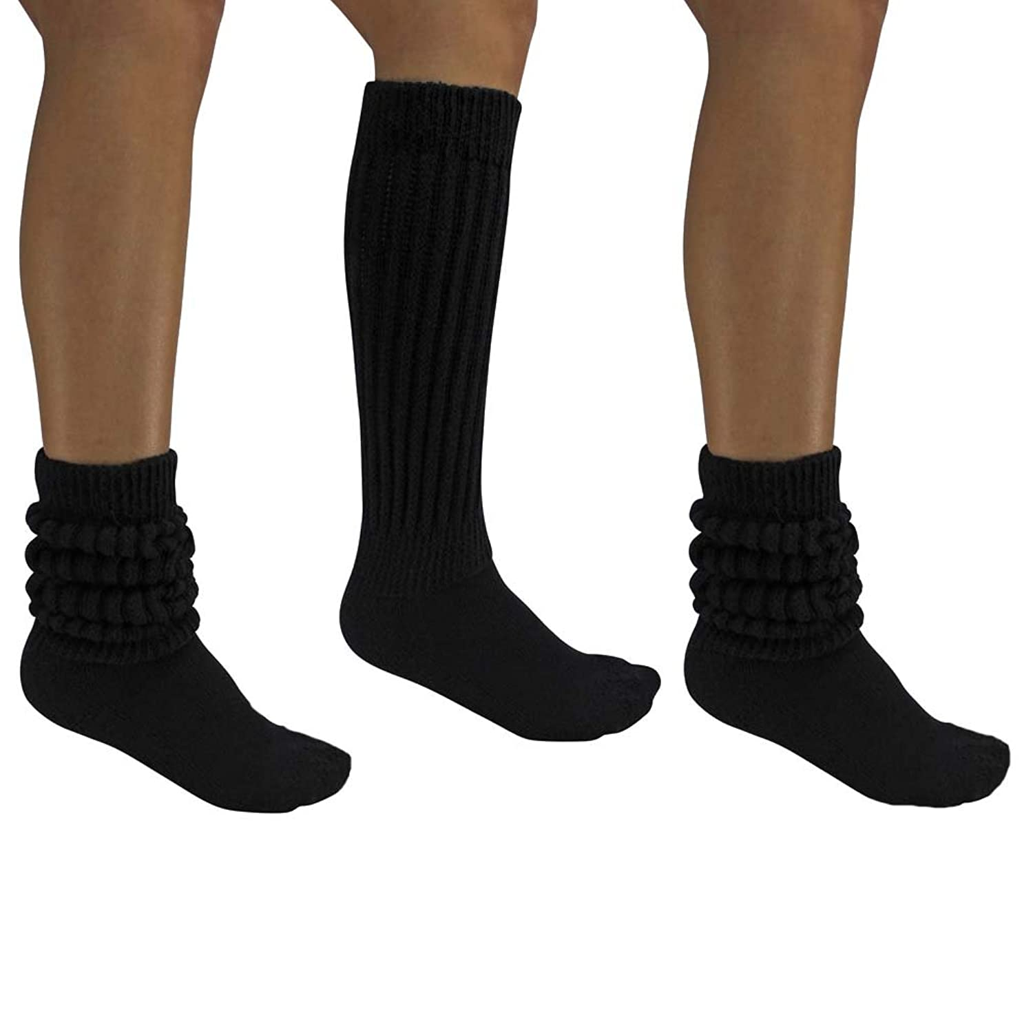 all cotton black 3 pack extra heavy super slouch socks at amazon