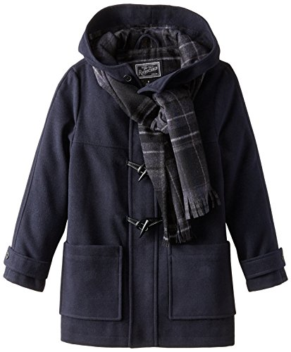 Rothschild Big Boys' Faux Wool Toggle Coat with Scarf, Midnight, 12 -
