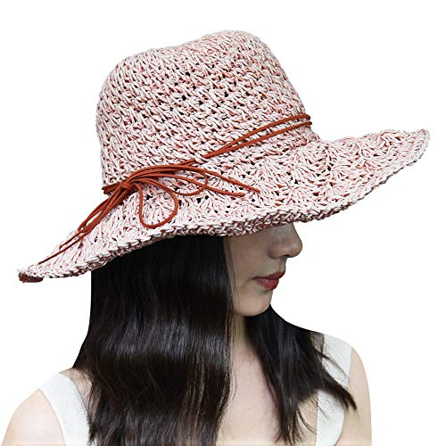 (Xixihaha Summer Beach Sun Hats for Women Girls Foldable Floppy Summer Straw Hat Wide Brim Hat UV Protection (Pink))
