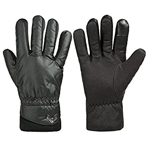 GLOUE Men's Gloves Waterproof Touchscreen Thick Gloves Keep Warm in Winter Outdoor Cycling Gloves For Men, Black
