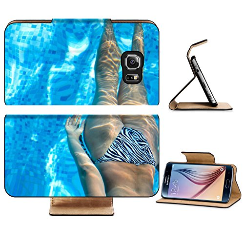 Luxlady Premium Samsung Galaxy S6 Edge Flip Pu Leather Wallet Case IMAGE 24106172 View from above of a woman in a bikini swimming face down in a - Bathers Training