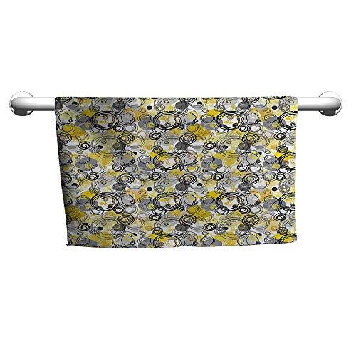 Bath Towel Grey and Yellow,Hand Drawn Sketchy Geometrical Retro Modern Circles Image,Mustard White Grey,Towel Dress for Women
