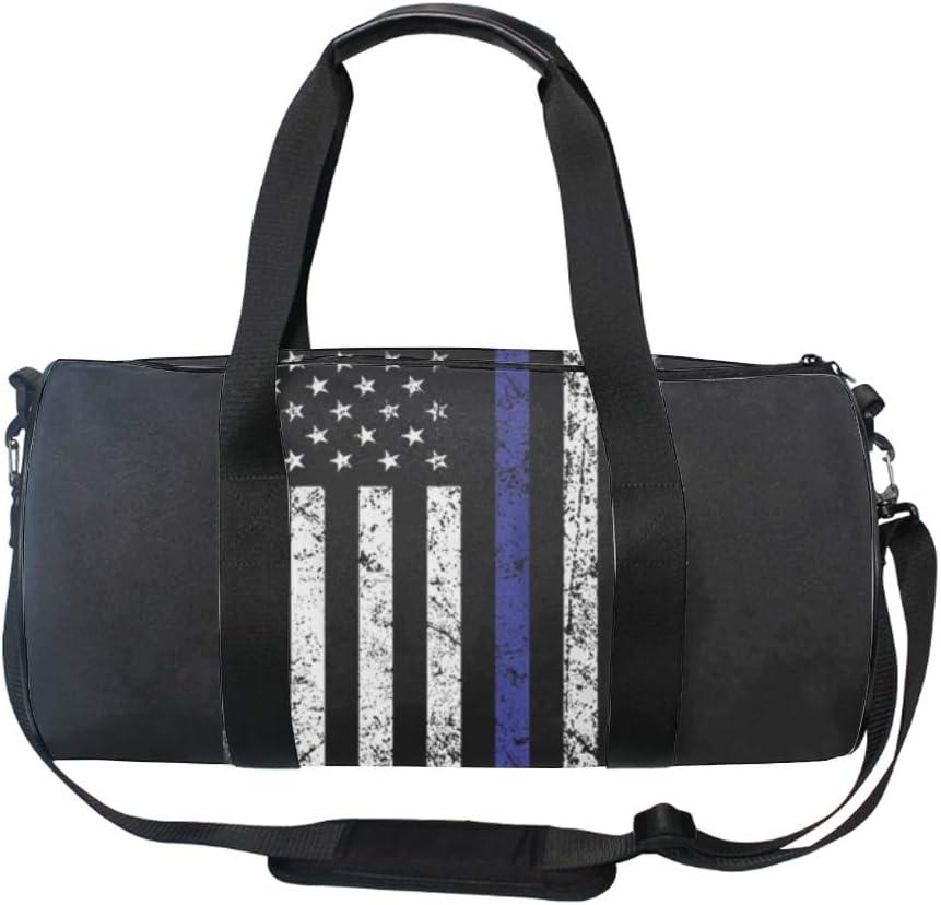 Thin Blue Line Flag Gym Bag Sports Duffel Bag Barrel Holdall Bag For Travel Gym Sports Bag