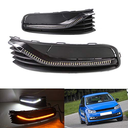 [해외]Auto-Tech 1 Set Car LED light Daytime Running Light Retrofit LED White light color with Turn signal DRL kit For Volkswagen VW POLO 2014-2016 (white to yellow light) / Auto-Tech 1 Set Car LED light Daytime Running Light, Retrofit LE...