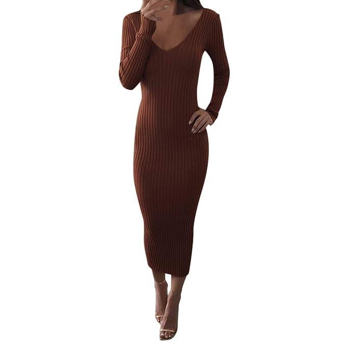 cheap for discount 11891 b452b Longra Abito in Maglia Autunnale Vestito Lungo Maglione a Maniche Lunghe  Vestito Elasticizzato Vestiti Lunga Sexy V Profonda Slim Fit Vestito di ...