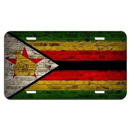 Diseño de pared de ladrillos de bandera de Zimbabwe placa de licencia