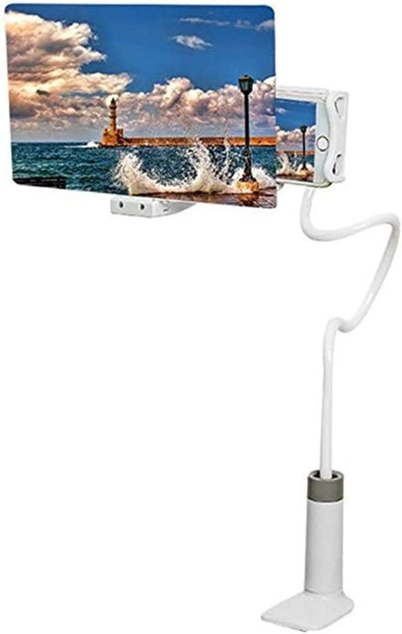 Universal Phone Stand Holder Long Arm Mount /& Phone Screen Amplifier Lazy Phone Holder with Phone Screen Magnifier Color : White, Size : 12INCH