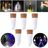 HonsCreat 5 Packs Cork Lights USB Rechargeable LED Bottle Light for Christmas Halloween Wedding Party Decor