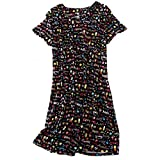 Amoy-Baby Women's Cotton Blend Green Floral Nightgown Casual Nights XTSY001-Black Pineapple-L