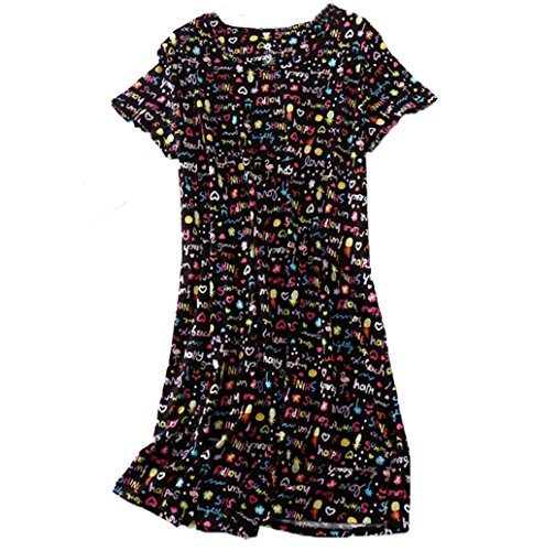 (PNAEONG Amoy-Baby Women's Nightgowns Short Sleeves Cotton Sleepwear Print Sleep Shirt XTSY001-Black Pineapple-2XL)