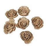 6pcs Hessian Burlap Rose Flowers Rustic Wedding Craft Making Decor
