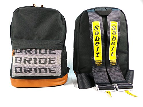 (Bride JDM Racing Backpack Racing Harness Shoulder Straps Zipper Pockets w Padded Computer Compartment (Sabelt Black)