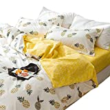AMWAN Yellow Geometric Fitted Sheet Twin 100% Cotton Kids Boys Bedding Sheet for Teens Girls Children Fresh Soft Cotton Matress Cover Deep Pocket Twin Size Bed Fitted Sheet (NO Pillowcases)