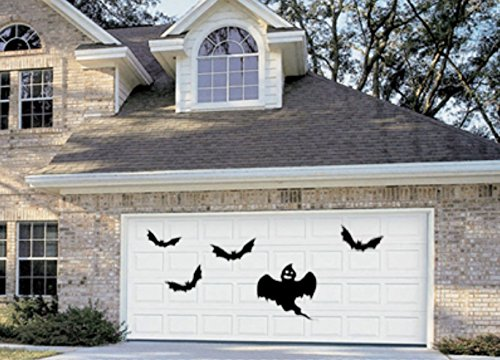 Halloween Garage Door Decor Haunted House Removable Wall Decal Stickers Bats and Ghost]()