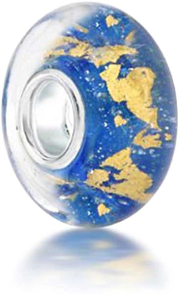 Verre Murano Feuille M/étallique DOr Rouge Bleu Charms Et Perles Pour Femme Ados Bracelet Europ/éen Argent Sterling