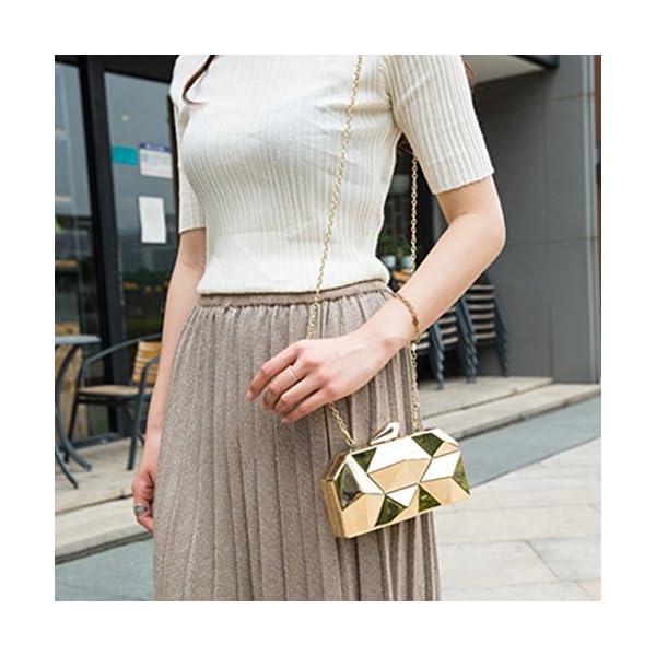 Goodbag Boutique Women Lattice Pattern Metal Handbag Chain Geometric Evening Clutch