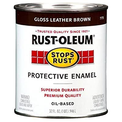 Rust-Oleum 7775502 Protective Enamel Paint Stops Rust, 32-Ounce, Gloss Leather Brown