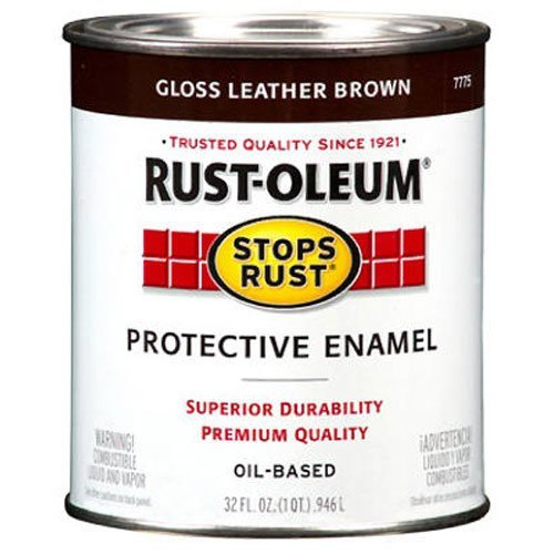 - Rust-Oleum 7775502 Protective Enamel Paint Stops Rust, 32-Ounce, Gloss Leather Brown