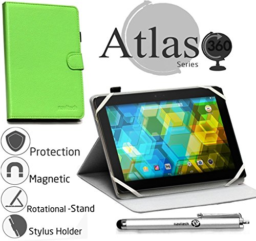 Navitech Green Faux Leather Case Cover with Stand Compatible with The KOCASO MX1082 [10.1 INCH] [Android 5.1 Lollipop] Tablet
